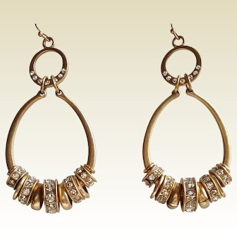 Sparkling Rhinestones & brushed Gold-toned charm drop hoop earrings