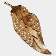 Crowned Trifari Gold-toned Leaf with Simulated Pearls ~c.1955