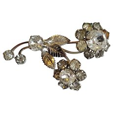 Sparkling 1930's ~ Flower Foiled Rhinestone Brooch Pin