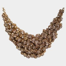 Sparkling Ice Chainmail Choker Bib Necklace ~ brushed gold-toned
