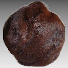 Classy Mahogany MINK Fur Cloche Hat ~ circa 1970 vintage