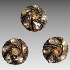 1960's Copper Foiled Rhinestone Pot Metal Buttons ~ large trio Brutalist Style