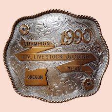 RARE ~ 1990 Award Buckle ~Oregon State 'Champion FFA Livestock Judging Team'