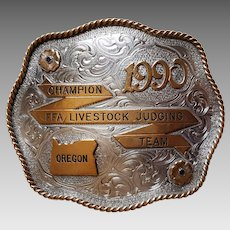 RARE ~ 1990 Award Buckle ~Oregon State 'Champion FFA Livestock Judging Team'
