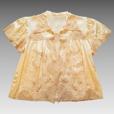 Vintage, late-1940's ~ Intimate Silk Charmeuse and Ecru Lace Lingerie Bed Jacket
