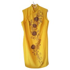 Vintage 1960's ~ Sun Yellow Chinese Cheongsam Dress with Bronze-Gold Glass Beaded Chrysanthemums - Red Tag Sale Item