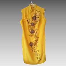 Vintage 1960's ~ Sun Yellow Chinese Cheongsam Dress with Bronze-Gold Glass Beaded Dahlias
