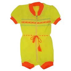 Vintage 1971 Baby Summer Romper Jumper from Brazil ~ Yellow & Orange
