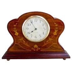 Mahogany Floral mantlepiece clock c.1900
