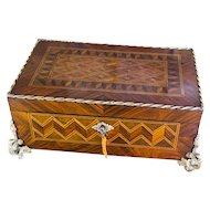 Decorative Kingwood French Table Box with brass bounding c.1860