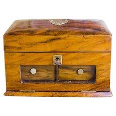 Figured Walnut Jewellery Box velvet inlay c.1890