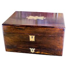 Rosewood William IV Table box brass inlay great condition c.1830