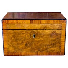 Burr Walnut Tea Caddy c.1860