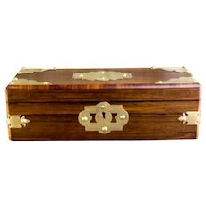 Rosewood and Tulipwood Jewellery Box c.1870
