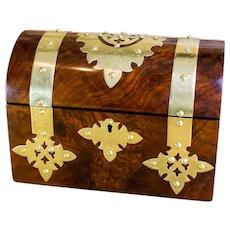 Burr Walnut twin lid Victorian Tea Caddy c.1870
