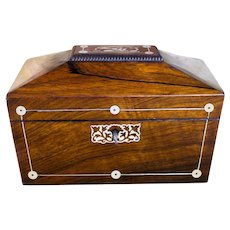 Rosewood Tea caddy with Mother of pearl c.1830
