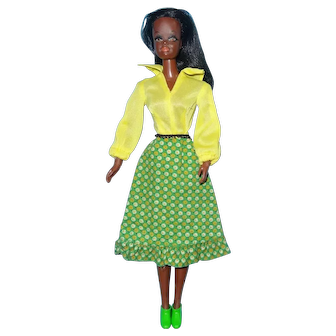 Vintage Barbie Live Action Christie Doll in MOD Barbie Dress