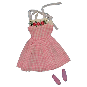 Vintage Barbie Skipper Doll Clothes - Skipper 1913 Me N' My Doll Pink Dress with Japan Shoes