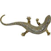 Lizard brooch - Made in Italy 60's - 800/1000 Silver and Rhinestones