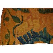 French antique tapestry fragment with fruits, leaves, trees, architectural elements c. 1700's