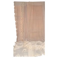 Pair French antique huge hand crafted embroidered never used tambour lace curtains ecru cotton