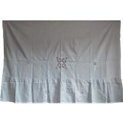French antique embroidered panel in white sateen cotton c. 1910