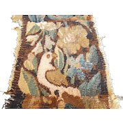 French antique tapestry fragment with birds, cabbage roses, acanthus leaves, tulip c. 1700's