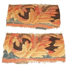 Pair French antique tapestry fragments large acanthus leaves late 1700's