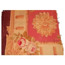 French antique hand made Aubusson large tapestry fragment cabbage rose