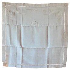 "Pair French hand embroidered ecru linen shams pillow cases monogram ""DO"" c. 1930"