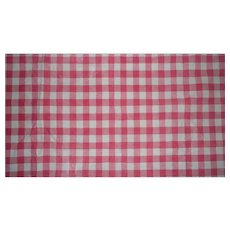 French cotton pink & white check cutter piece c. 1910