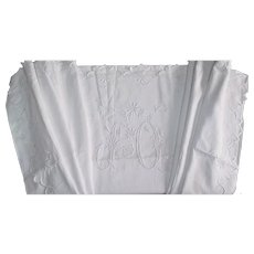 """French large linen sheet heavily embroidered monogram """"JO"""""""