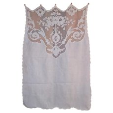 Set 3 French antique Cornely embroideries on tambour lace curtains 19th century