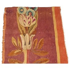 French 19th century Aubusson tapestry fragment with tulip