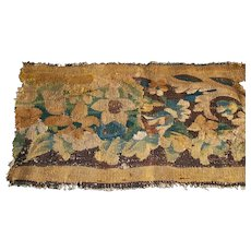 French 17th century tapestry fragment with flowers