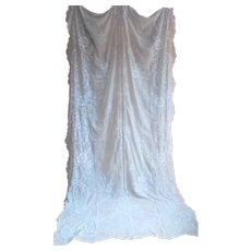 French antique hand crafted Cornely embroidery sheer curtain panel 19th century