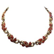 Vintage Coro Red Coral Color Leaf Necklace