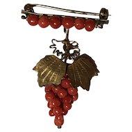 Antique Red Coral Grape 10k Gold Gilt Brooch