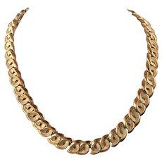 Vintage Crown Trifari Gold Tone Chain Necklace