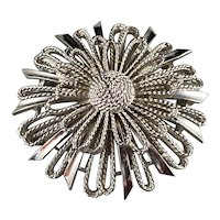 Lisner Mixed Texture Flower Brooch Silvertone