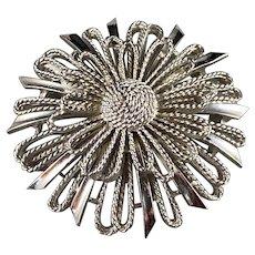 Lisner Mixed Texture Flower Brooch Silvertone