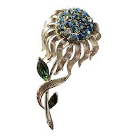 Lisner Blue / Green AB Sunflower with Silvertone Metalwork Brooch
