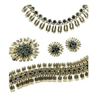 Lisner Green Sunflower Rhinestone Parure with Gold Metalwork