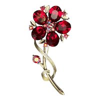 Deep Red Lisner Flower Brooch Signed