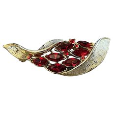 Deep Red Lisner Rhinestone Brooch Signed