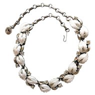 Vintage Lisner White Leaves Thermoset on Silver Tone Necklace