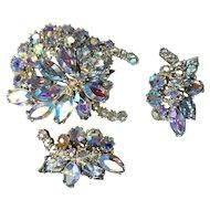 Vintage Hollycraft Aurora Borealis Brooch and Earring Set