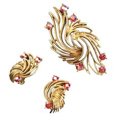 Vintage Lisner Feather Brooch and Earrings with Red Aurora Borealis Rhinestones