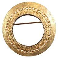 Benedikt Gold Tone Circle Brooch