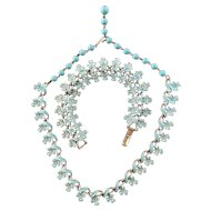 Coro Blue Flowers on Silver Tone Necklace and Bracelet Set
